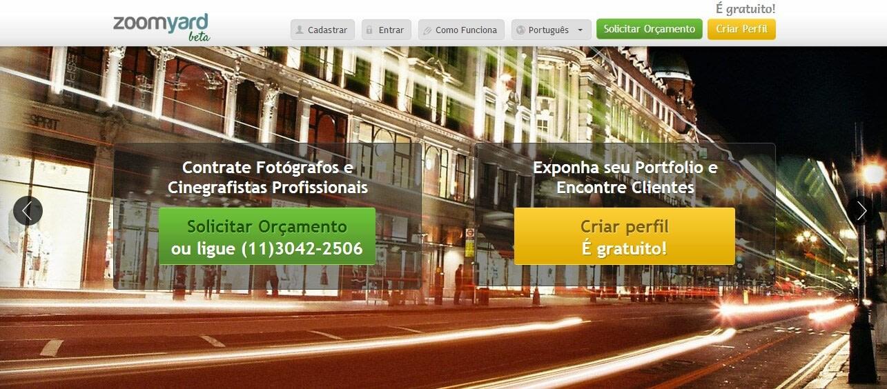 Zoomyard é uma plataforma que conecta Fotógrafos e Clientes