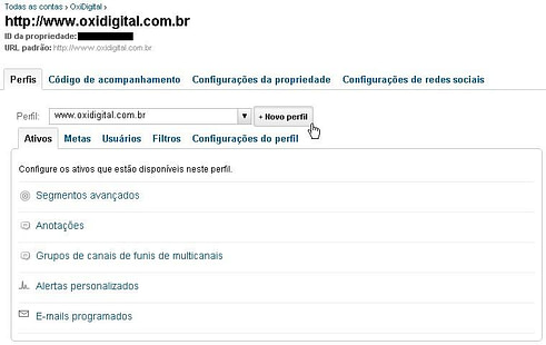 Google Analytics - Adicionar Perfil